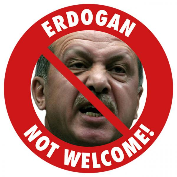 Aufkleber - Erdogan, Not Welcome!